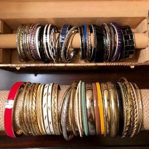 Jewelry - LARGE Metal Silvertone Goldtone Bangles Bracelets